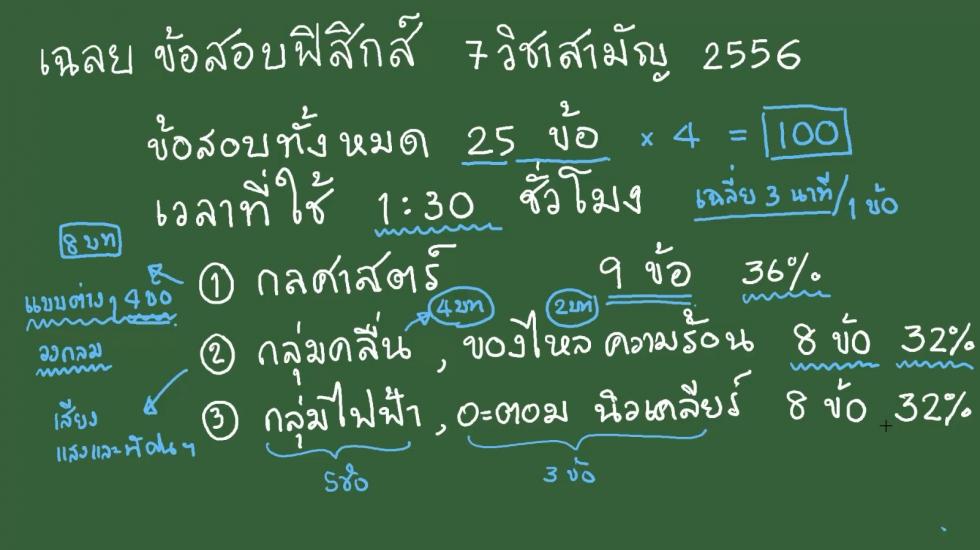 เฉลยข้อสอบฟิสิกส์ 9วิชาสามัญ56 ครั้งที่1