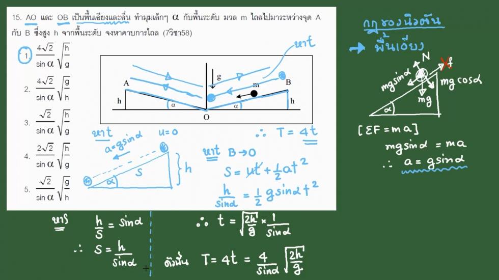 เฉลยข้อสอบฟิสิกส์ 9วิชาสามัญ58 ครั้งที่2